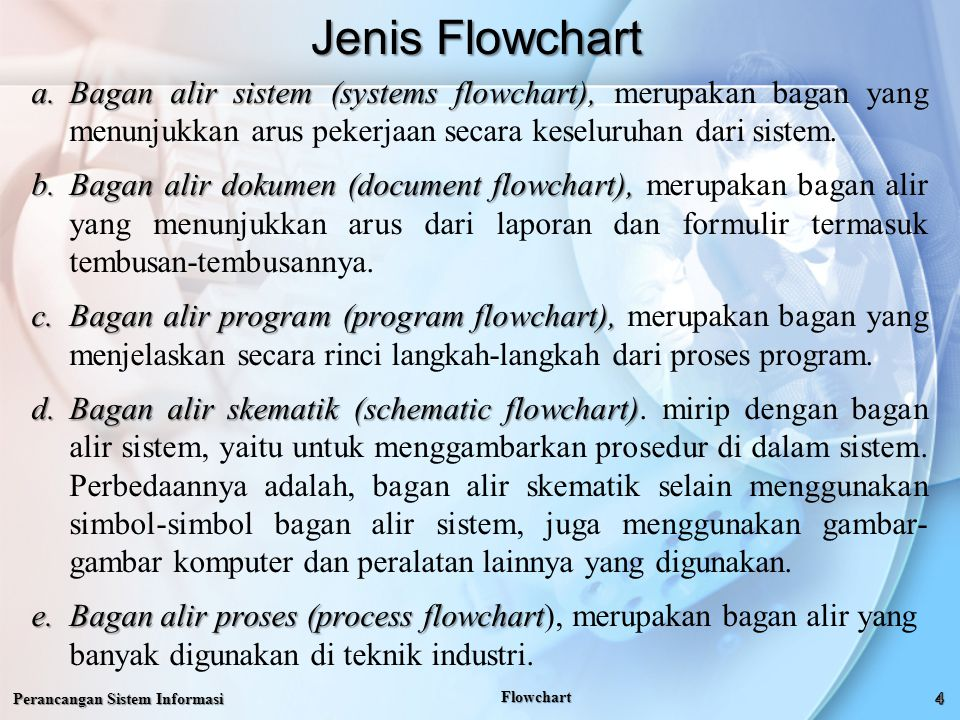 Jenis Flowchart Bagan alir sistem (systems flowchart), merupakan bagan yang menunjukkan arus pekerjaan secara keseluruhan dari sistem.