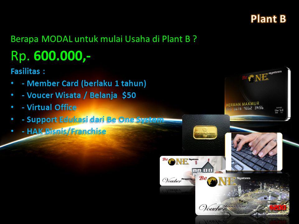 Rp. 600.000,- Plant B Berapa MODAL untuk mulai Usaha di Plant B