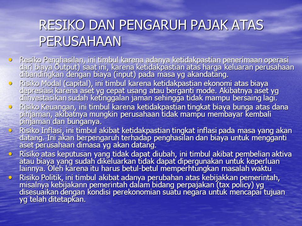 RESIKO DAN PENGARUH PAJAK ATAS PERUSAHAAN