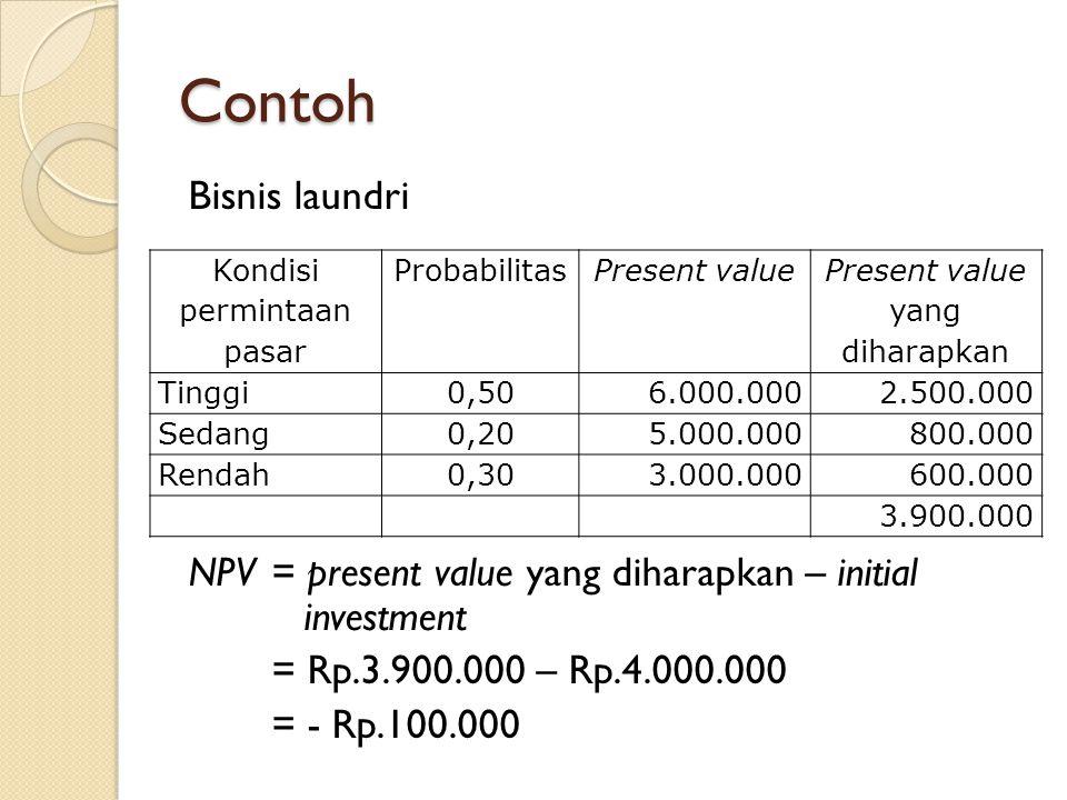 Contoh Bisnis laundri NPV = present value yang diharapkan – initial investment = Rp.3.900.000 – Rp.4.000.000 = - Rp.100.000