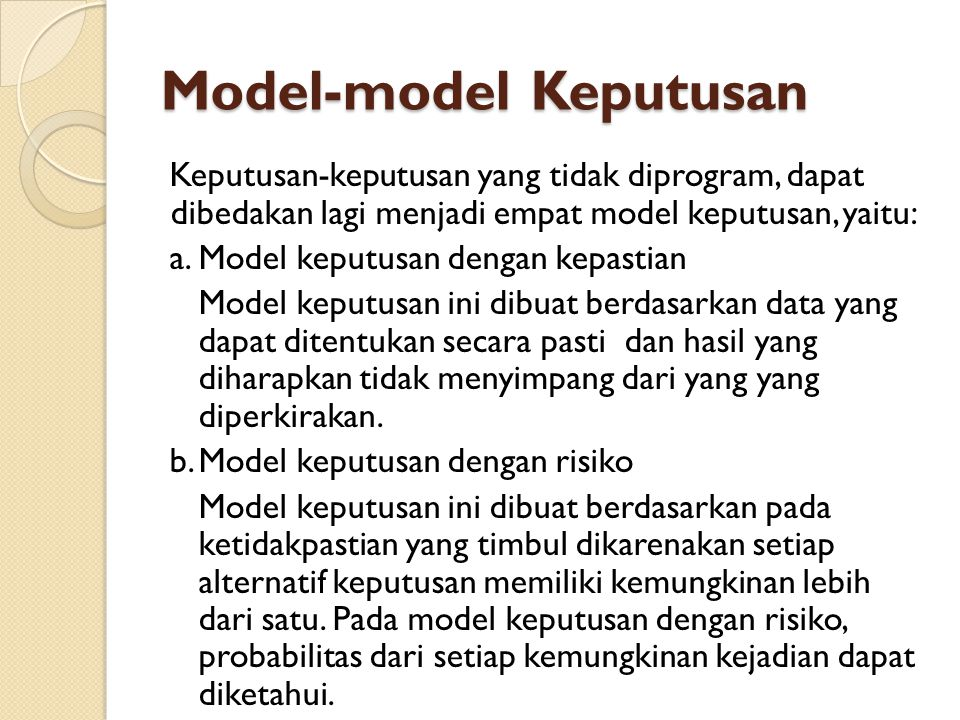 Model-model Keputusan