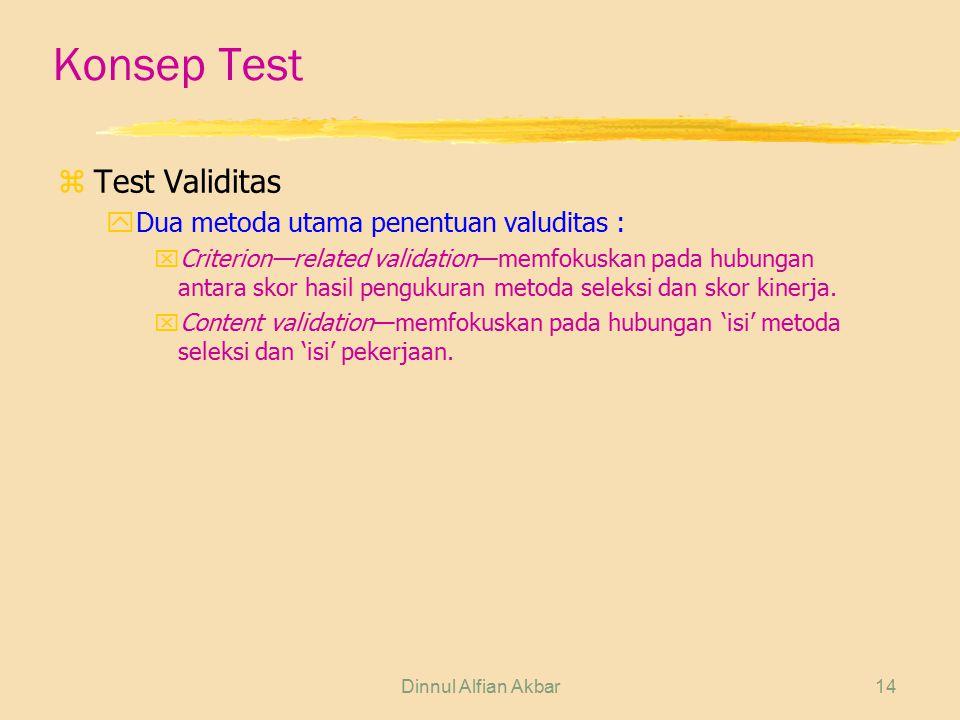 Konsep Test Test Validitas Dua metoda utama penentuan valuditas :