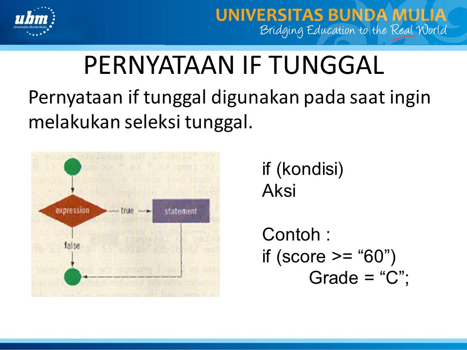 PERNYATAAN IF TUNGGAL Pernyataan if tunggal digunakan pada saat ingin melakukan seleksi tunggal. if (kondisi)