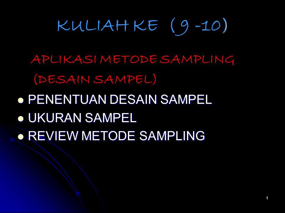 KULIAH KE ( 9 -10) (DESAIN SAMPEL) APLIKASI METODE SAMPLING