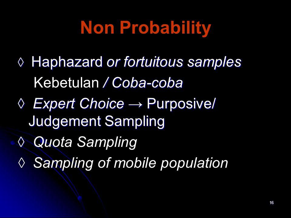 Non Probability Kebetulan / Coba-coba