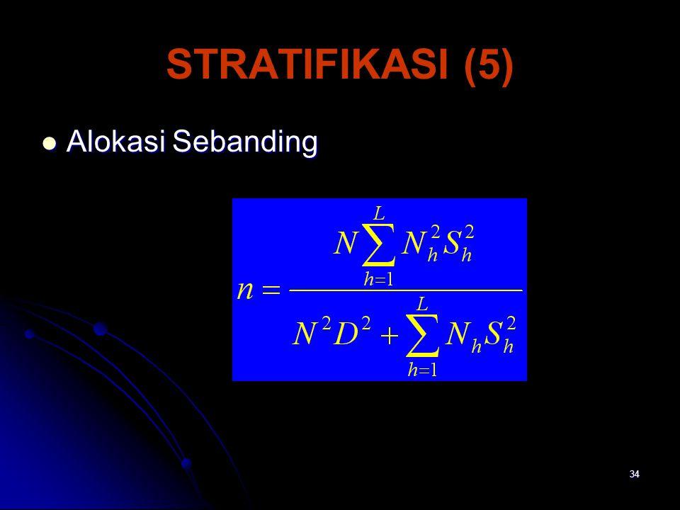 STRATIFIKASI (5) Alokasi Sebanding