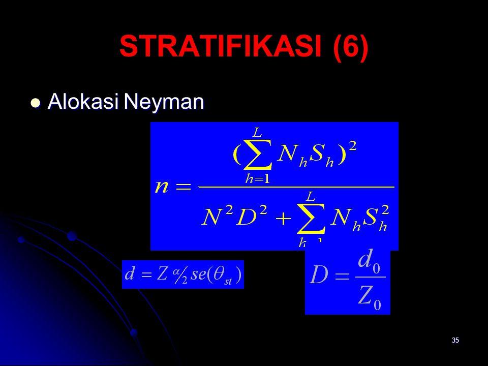 STRATIFIKASI (6) Alokasi Neyman