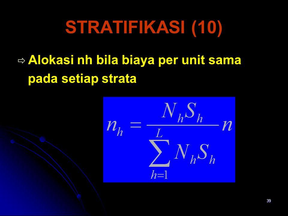 STRATIFIKASI (10) Alokasi nh bila biaya per unit sama