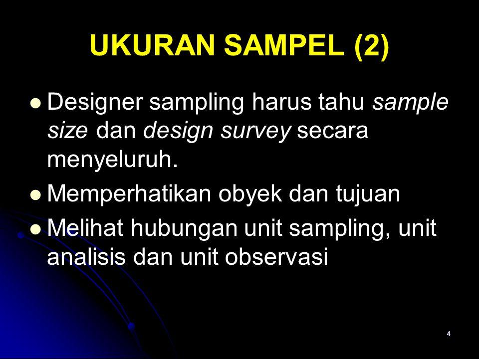 UKURAN SAMPEL (2) Designer sampling harus tahu sample size dan design survey secara menyeluruh. Memperhatikan obyek dan tujuan.