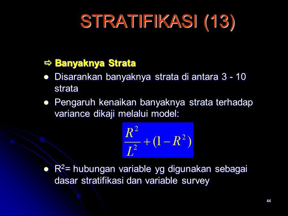 STRATIFIKASI (13)  Banyaknya Strata
