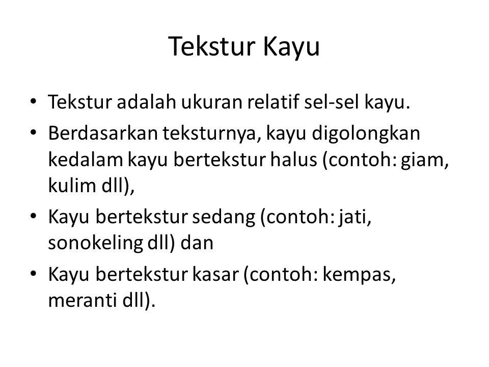 Tekstur Kayu Tekstur adalah ukuran relatif sel-sel kayu.