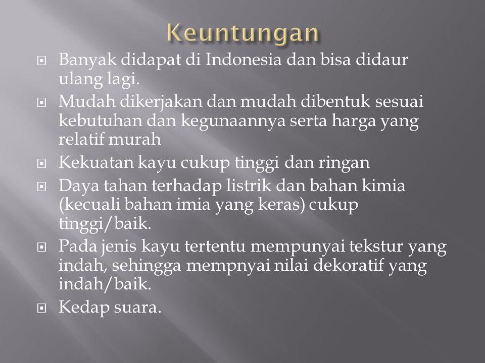 Keuntungan Banyak didapat di Indonesia dan bisa didaur ulang lagi.