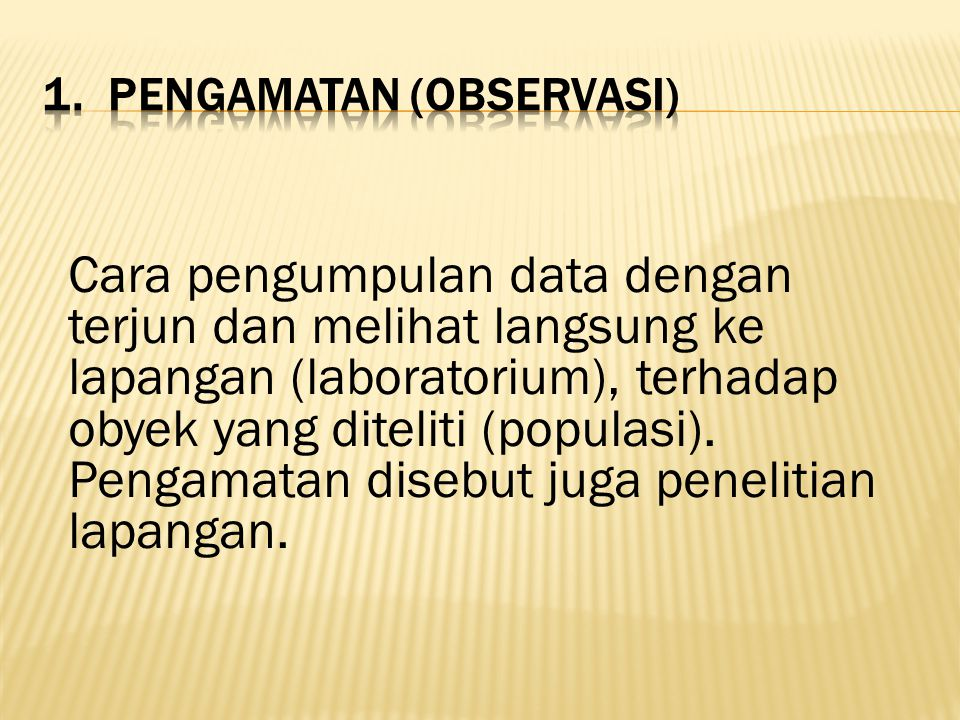 1. Pengamatan (Observasi)