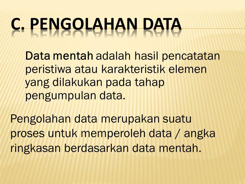 C. Pengolahan Data Data mentah adalah hasil pencatatan peristiwa atau karakteristik elemen yang dilakukan pada tahap pengumpulan data.