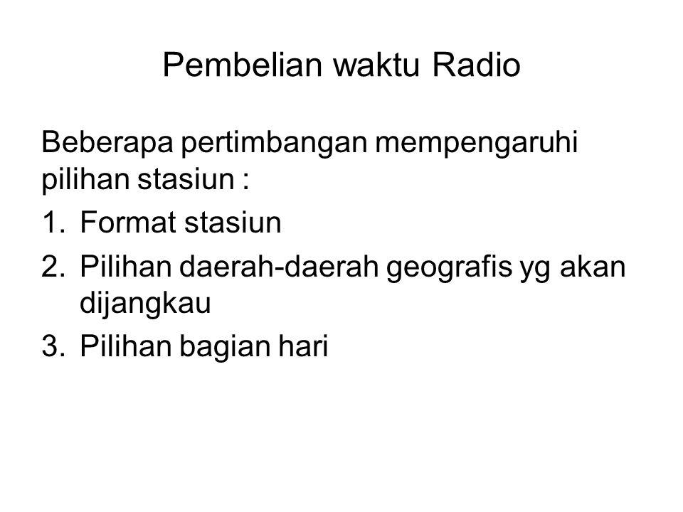 Pembelian waktu Radio Beberapa pertimbangan mempengaruhi pilihan stasiun : Format stasiun. Pilihan daerah-daerah geografis yg akan dijangkau.