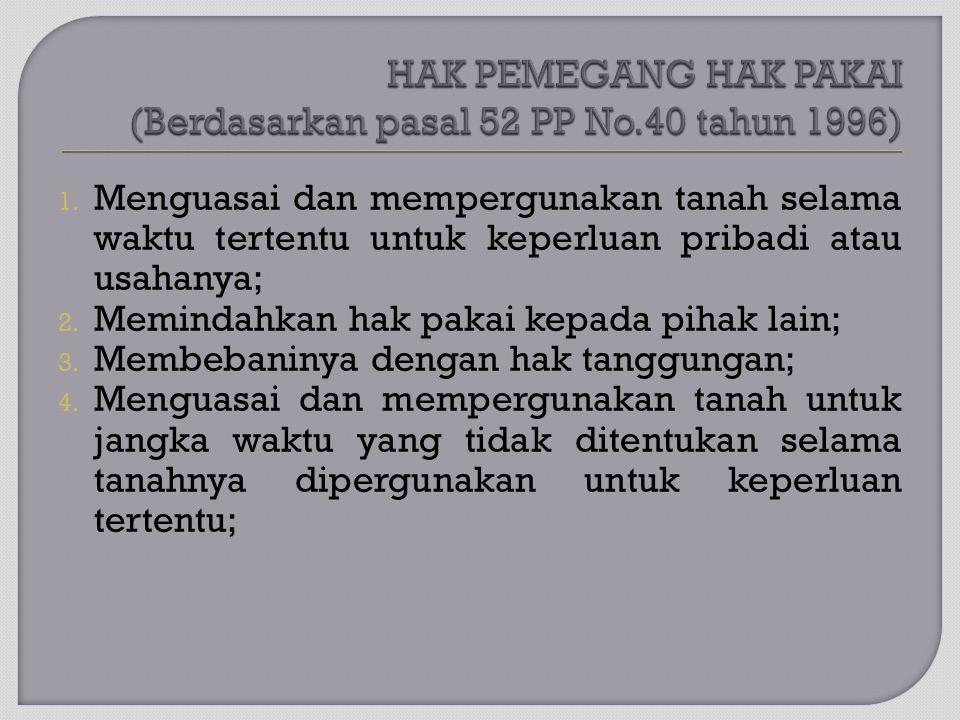 HAK PEMEGANG HAK PAKAI (Berdasarkan pasal 52 PP No.40 tahun 1996)