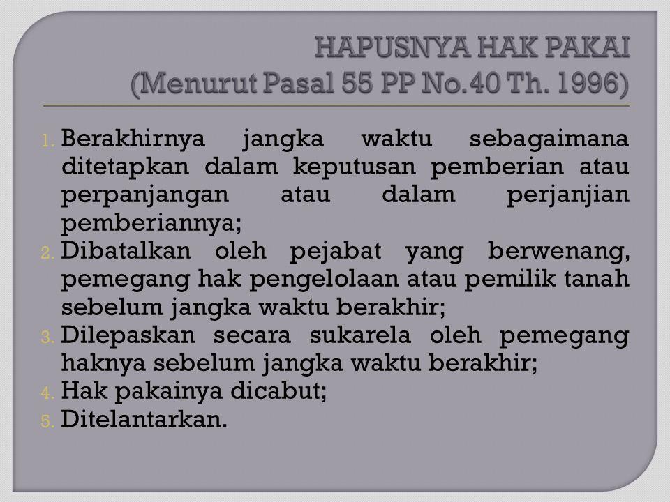 HAPUSNYA HAK PAKAI (Menurut Pasal 55 PP No.40 Th. 1996)