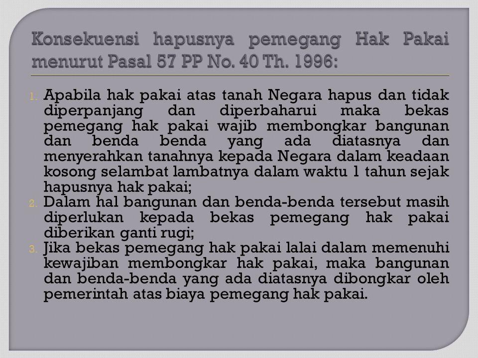 Konsekuensi hapusnya pemegang Hak Pakai menurut Pasal 57 PP No. 40 Th