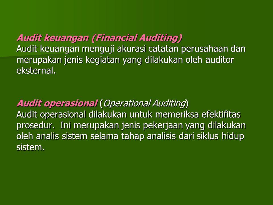 Audit keuangan (Financial Auditing) Audit keuangan menguji akurasi catatan perusahaan dan merupakan jenis kegiatan yang dilakukan oleh auditor eksternal.