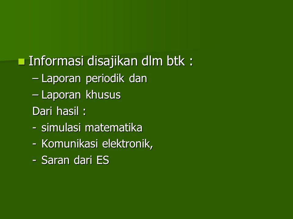 Informasi disajikan dlm btk :