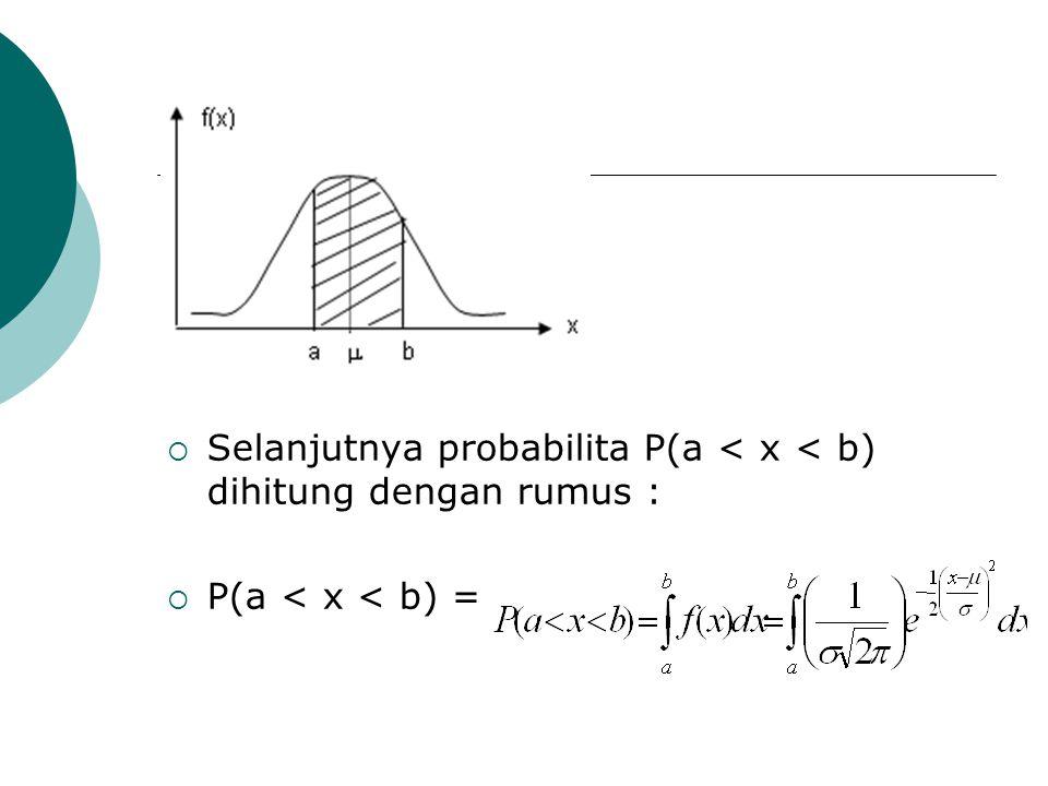 Selanjutnya probabilita P(a < x < b) dihitung dengan rumus :