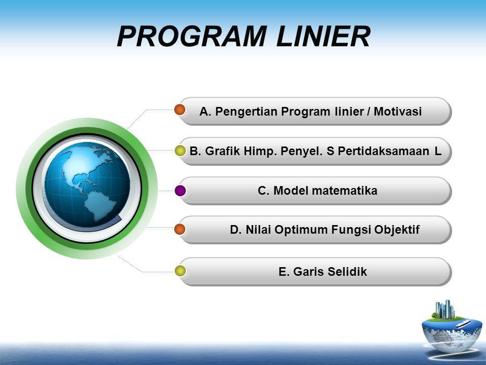 PROGRAM LINIER A. Pengertian Program linier / Motivasi