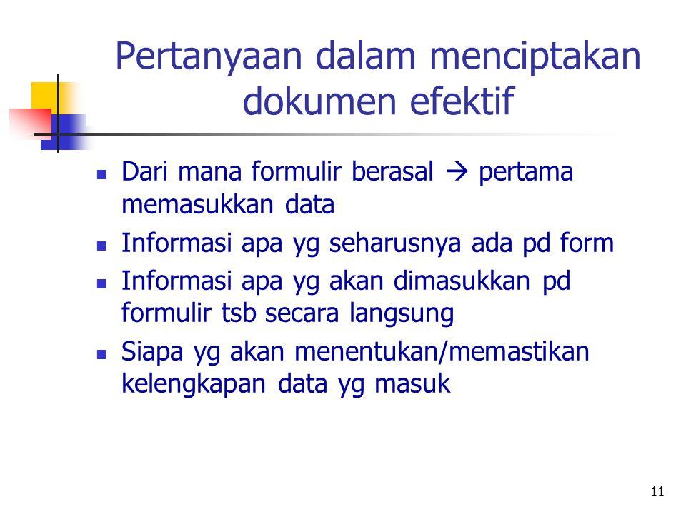 Pertanyaan dalam menciptakan dokumen efektif