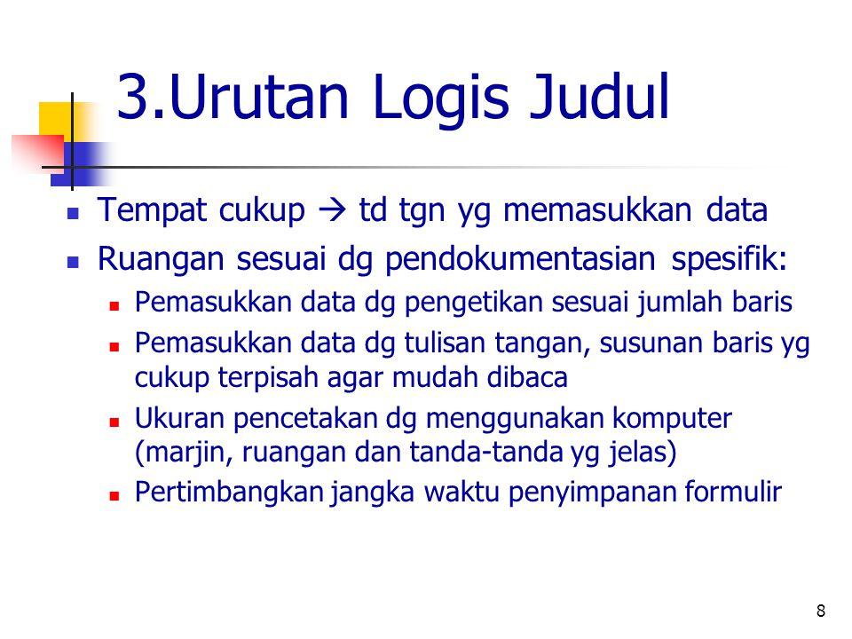 3.Urutan Logis Judul Tempat cukup  td tgn yg memasukkan data