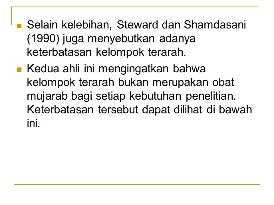 Selain kelebihan, Steward dan Shamdasani (1990) juga menyebutkan adanya keterbatasan kelompok terarah.