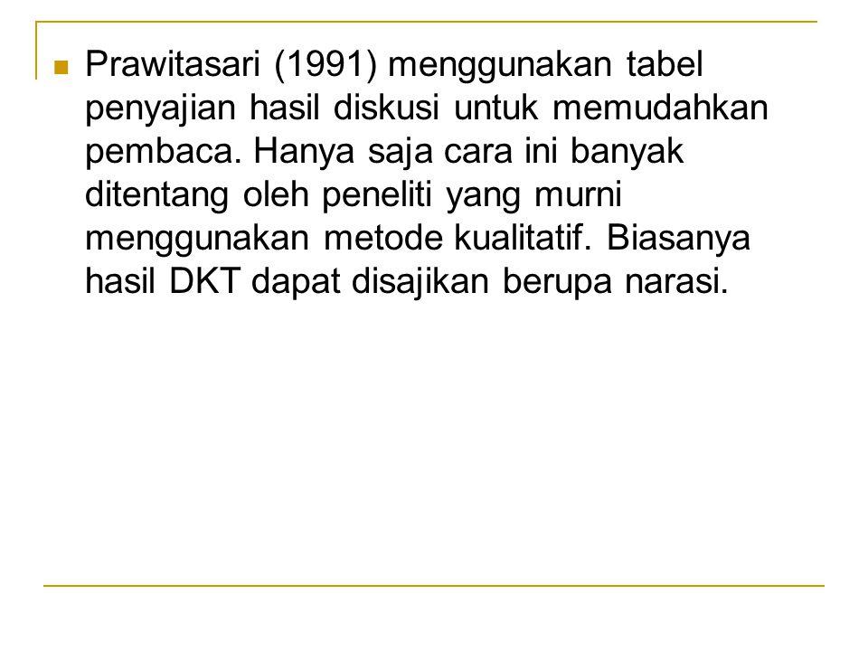 Prawitasari (1991) menggunakan tabel penyajian hasil diskusi untuk memudahkan pembaca.