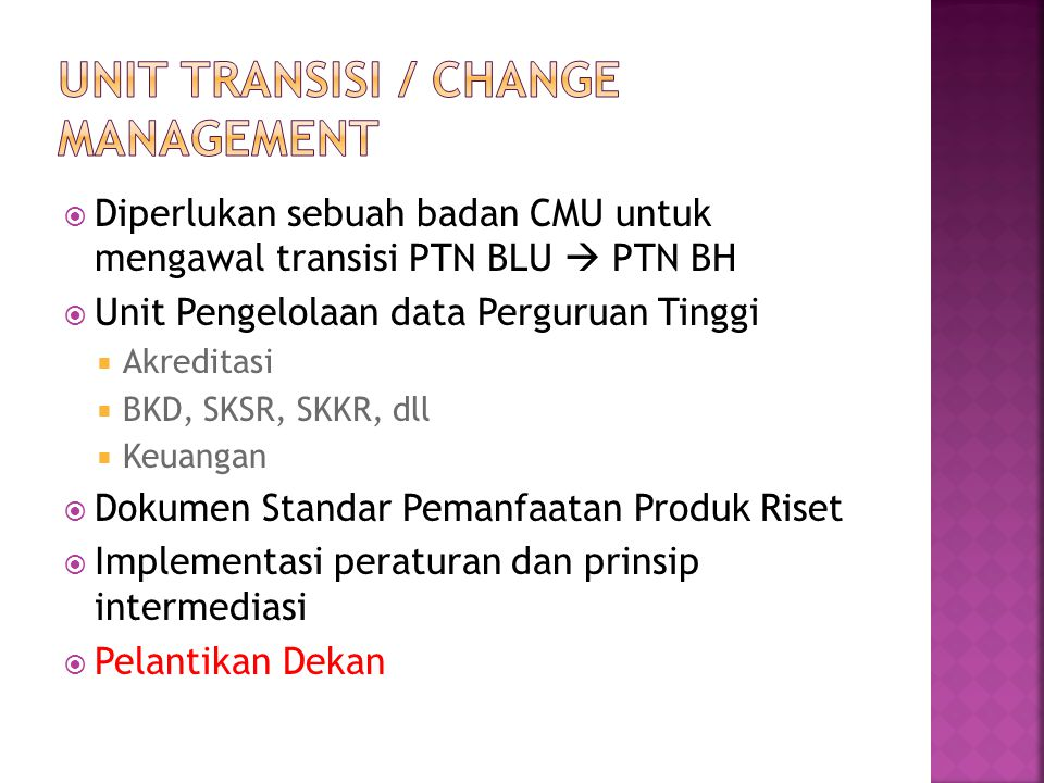 Unit Transisi / Change Management