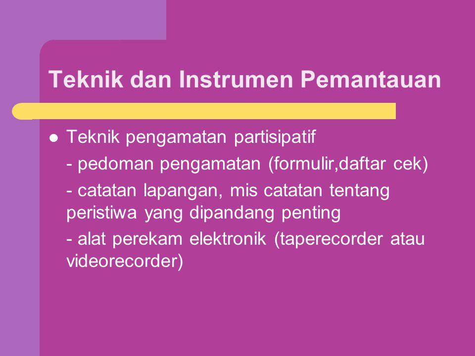 Teknik dan Instrumen Pemantauan