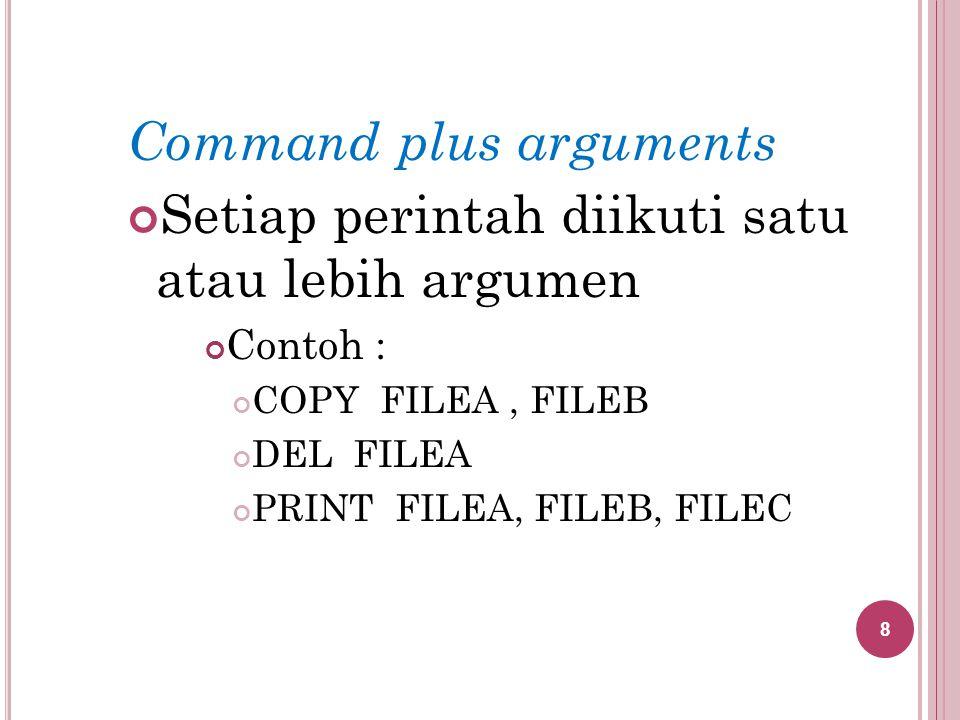 Command plus arguments Setiap perintah diikuti satu atau lebih argumen