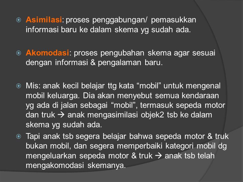 Asimilasi: proses penggabungan/ pemasukkan informasi baru ke dalam skema yg sudah ada.
