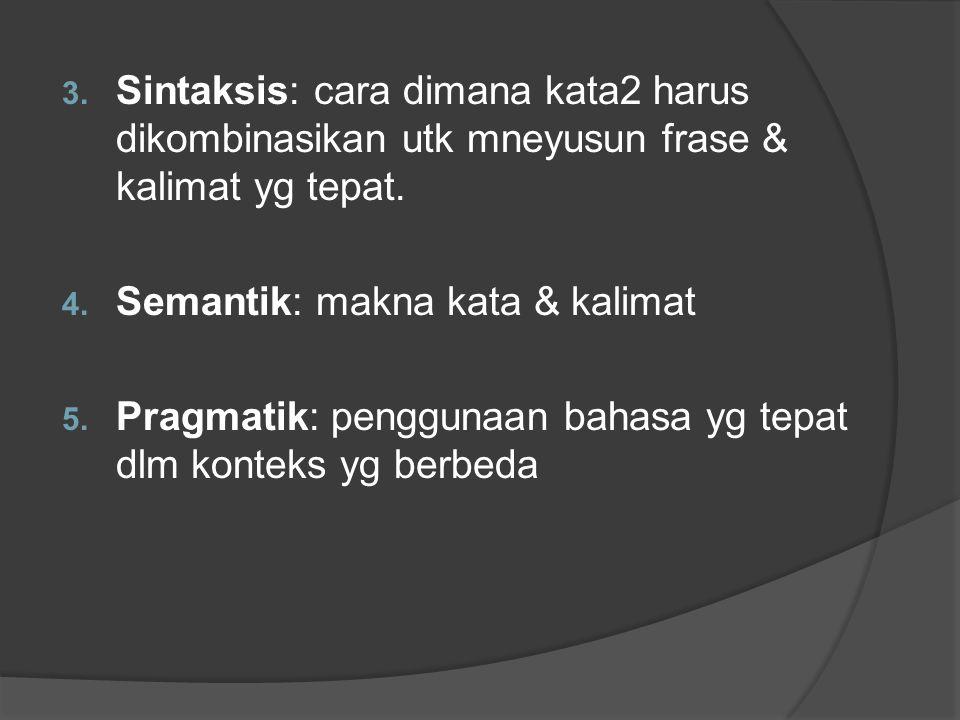 Sintaksis: cara dimana kata2 harus dikombinasikan utk mneyusun frase & kalimat yg tepat.