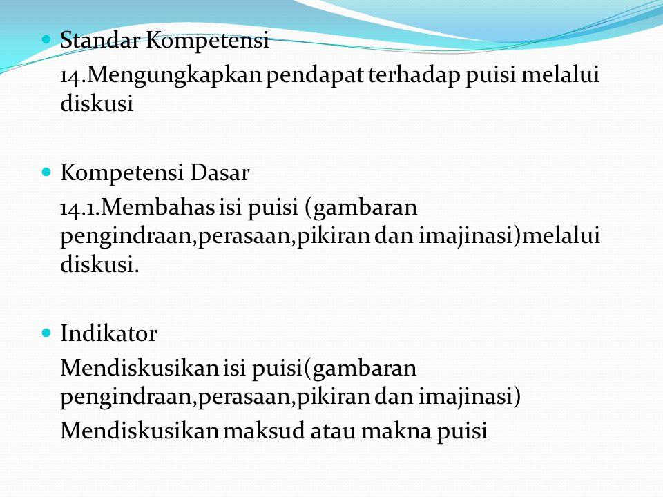 Standar Kompetensi 14.Mengungkapkan pendapat terhadap puisi melalui diskusi. Kompetensi Dasar.