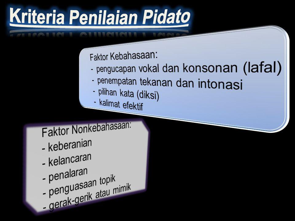 Kriteria Penilaian Pidato