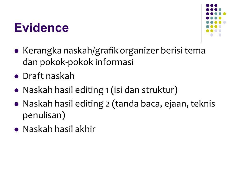 Evidence Kerangka naskah/grafik organizer berisi tema dan pokok-pokok informasi. Draft naskah. Naskah hasil editing 1 (isi dan struktur)