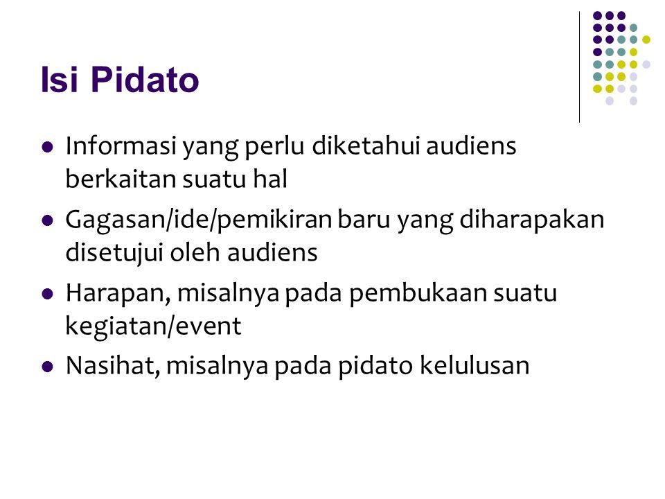 Isi Pidato Informasi yang perlu diketahui audiens berkaitan suatu hal