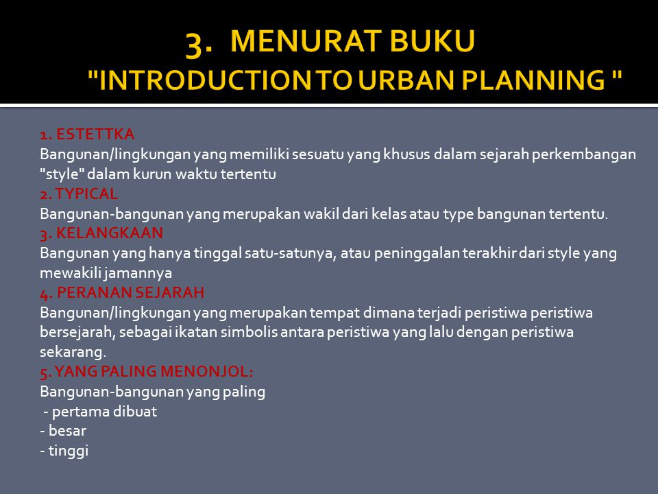 3. MENURAT BUKU INTRODUCTION TO URBAN PLANNING