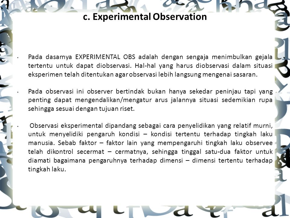 c. Experimental Observation