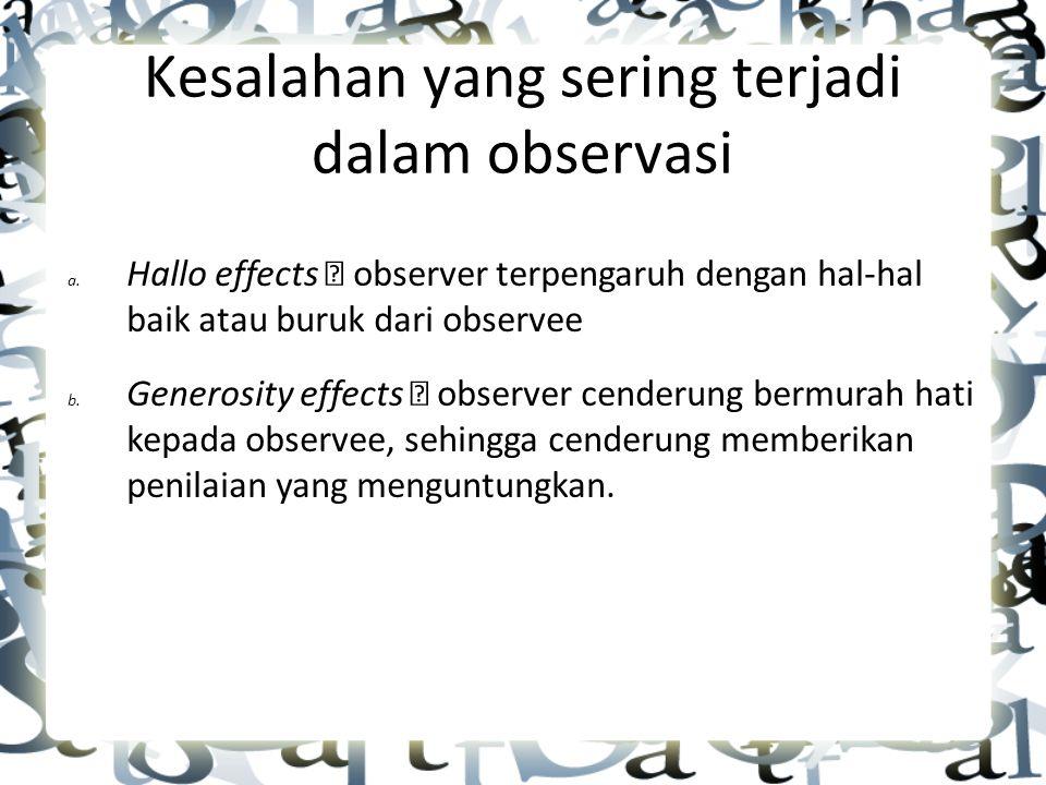 Kesalahan yang sering terjadi dalam observasi