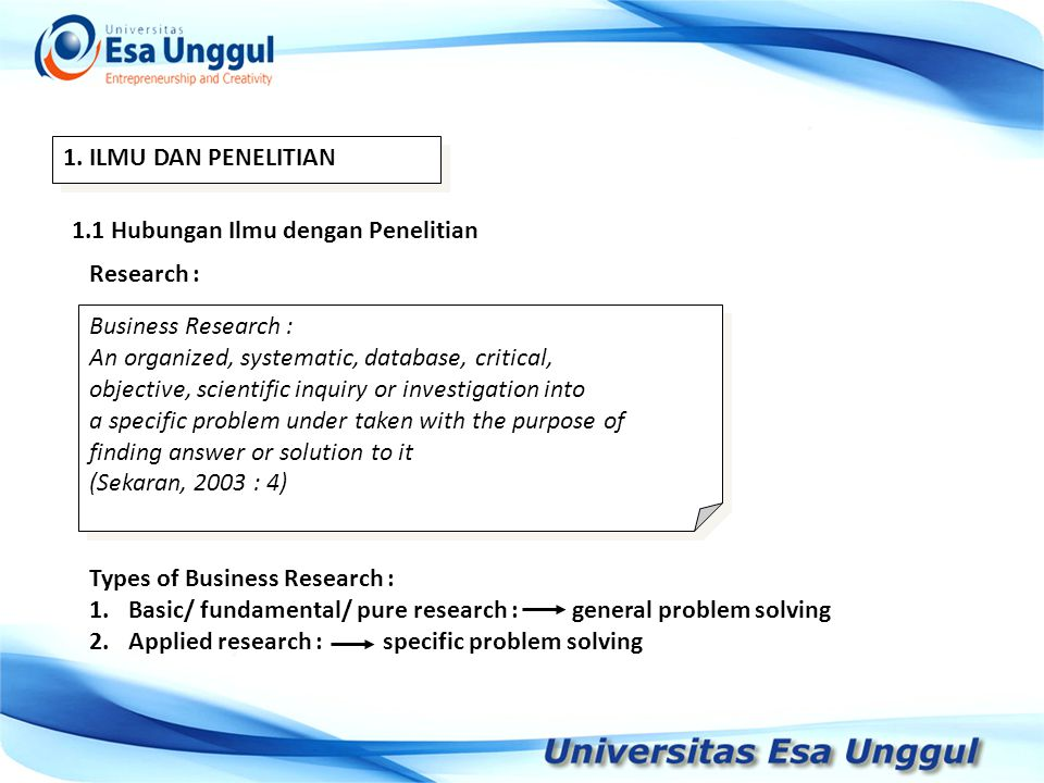 1. ILMU DAN PENELITIAN 1.1 Hubungan Ilmu dengan Penelitian. Research : Business Research : An organized, systematic, database, critical,