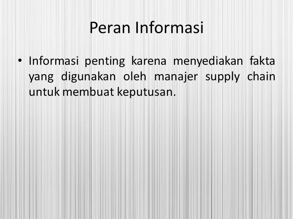 Peran Informasi Informasi penting karena menyediakan fakta yang digunakan oleh manajer supply chain untuk membuat keputusan.
