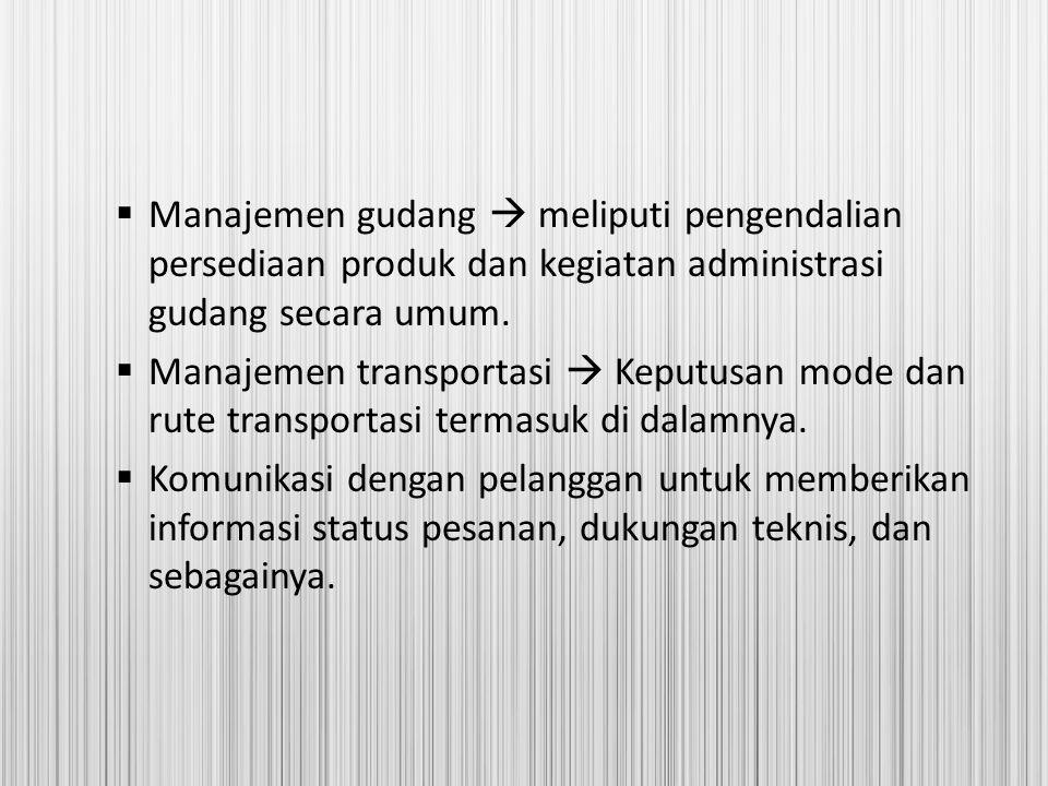 Manajemen gudang  meliputi pengendalian persediaan produk dan kegiatan administrasi gudang secara umum.