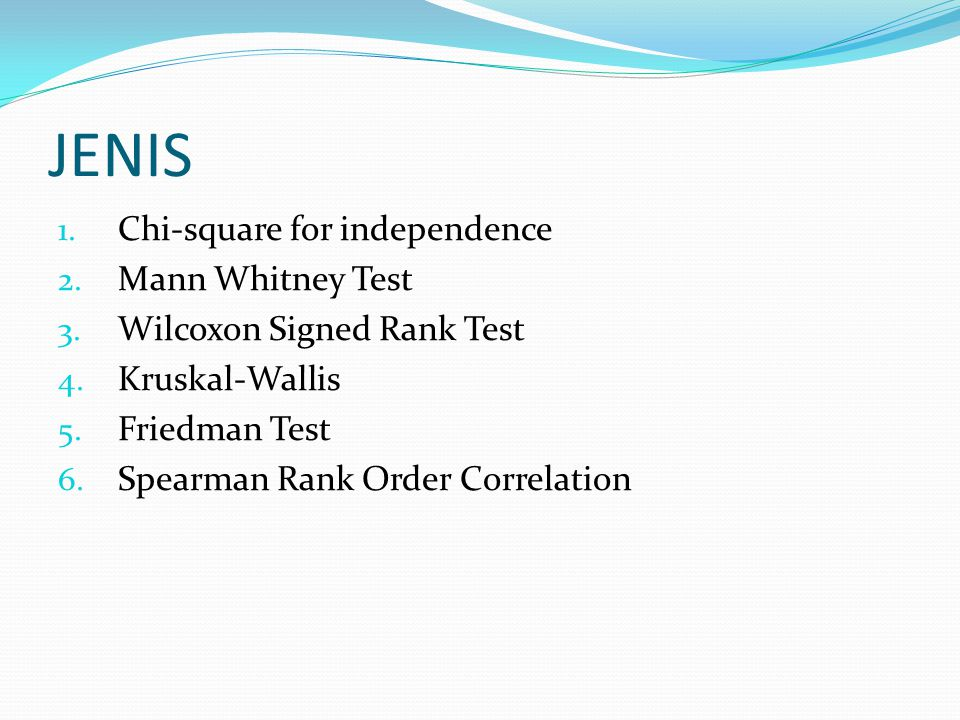 JENIS Chi-square for independence Mann Whitney Test