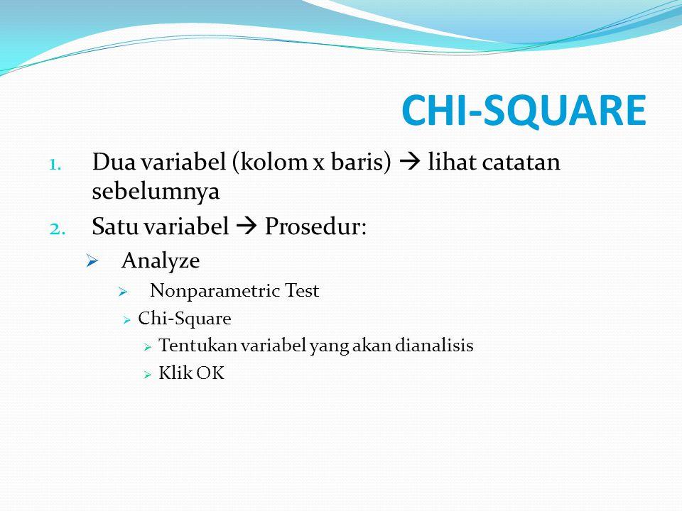 CHI-SQUARE Dua variabel (kolom x baris)  lihat catatan sebelumnya