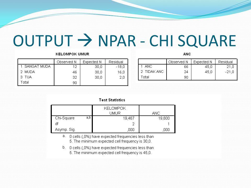 OUTPUT  NPAR - CHI SQUARE