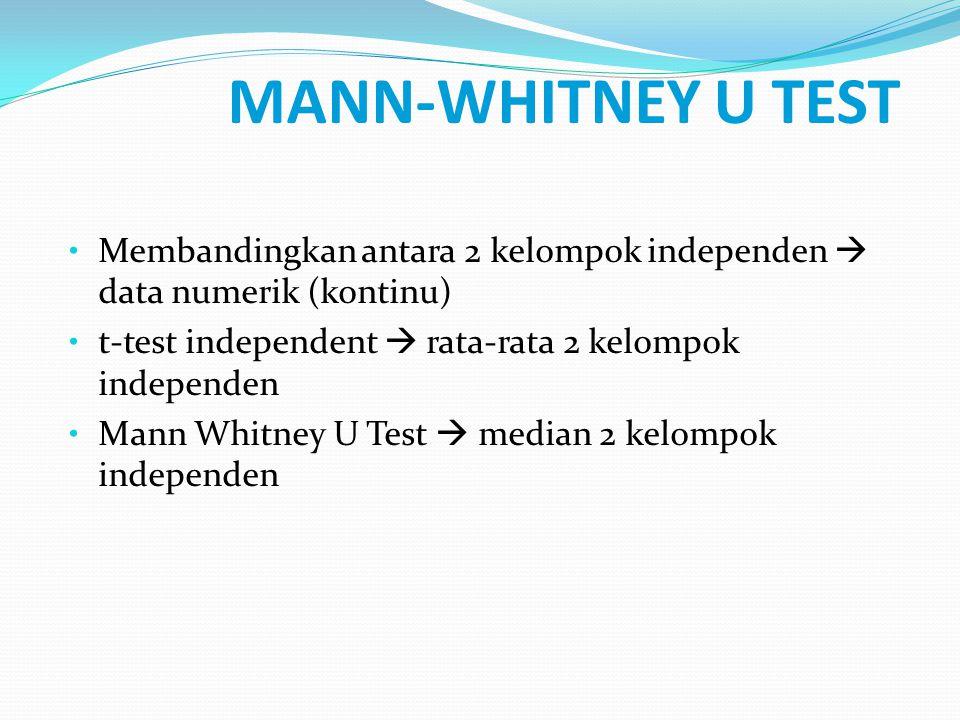 MANN-WHITNEY U TEST Membandingkan antara 2 kelompok independen  data numerik (kontinu) t-test independent  rata-rata 2 kelompok independen.