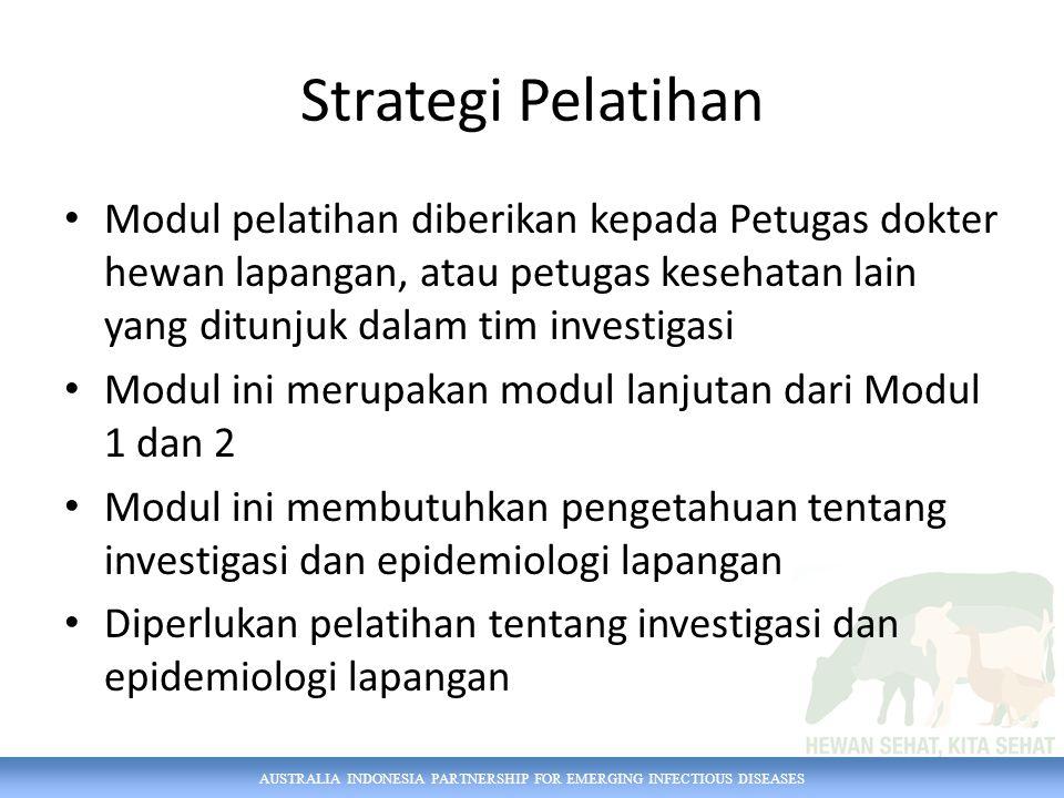 Strategi Pelatihan Modul pelatihan diberikan kepada Petugas dokter hewan lapangan, atau petugas kesehatan lain yang ditunjuk dalam tim investigasi.